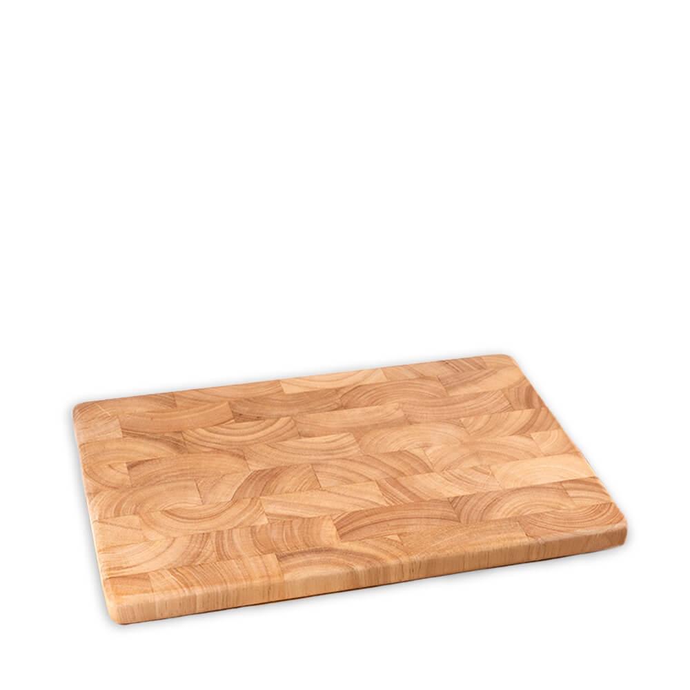 Holz-Schneidebrett aus Gummibaum-Stirnholz, mittel