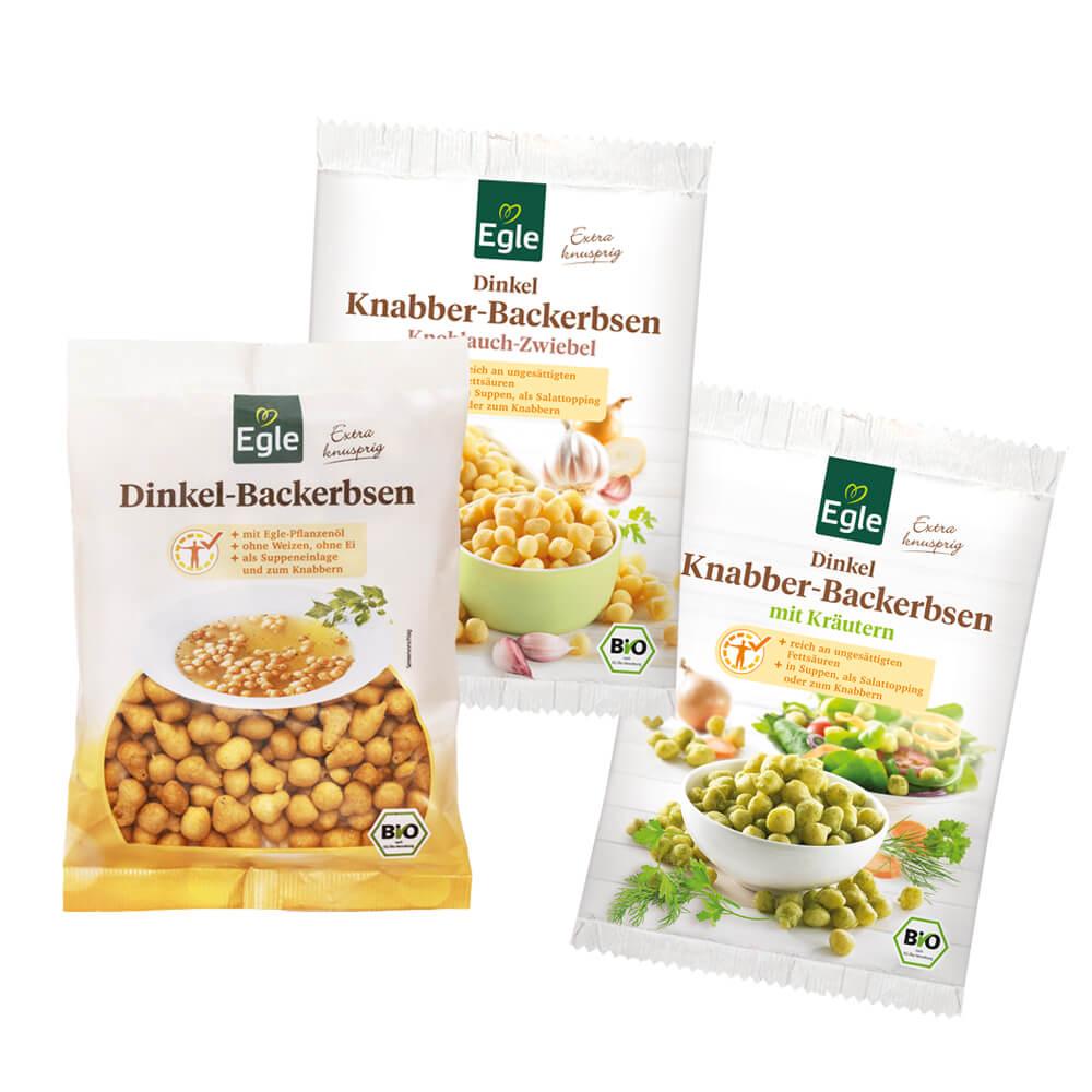 Backerbsen-Paket 3 x 100 g - Jubiläums-Angebot