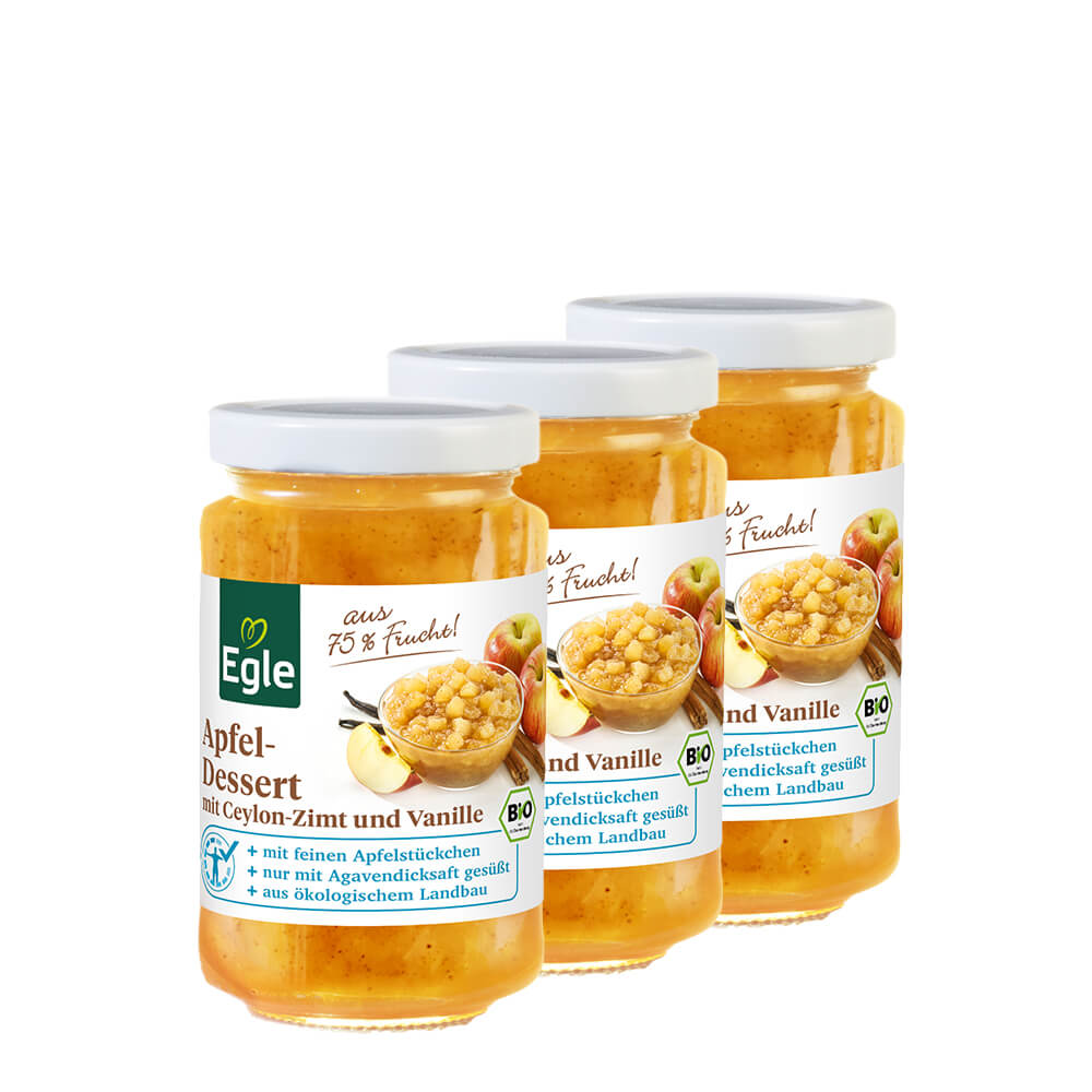 Bio Apfeldessert mit Gewürzen, 3 x 240 g