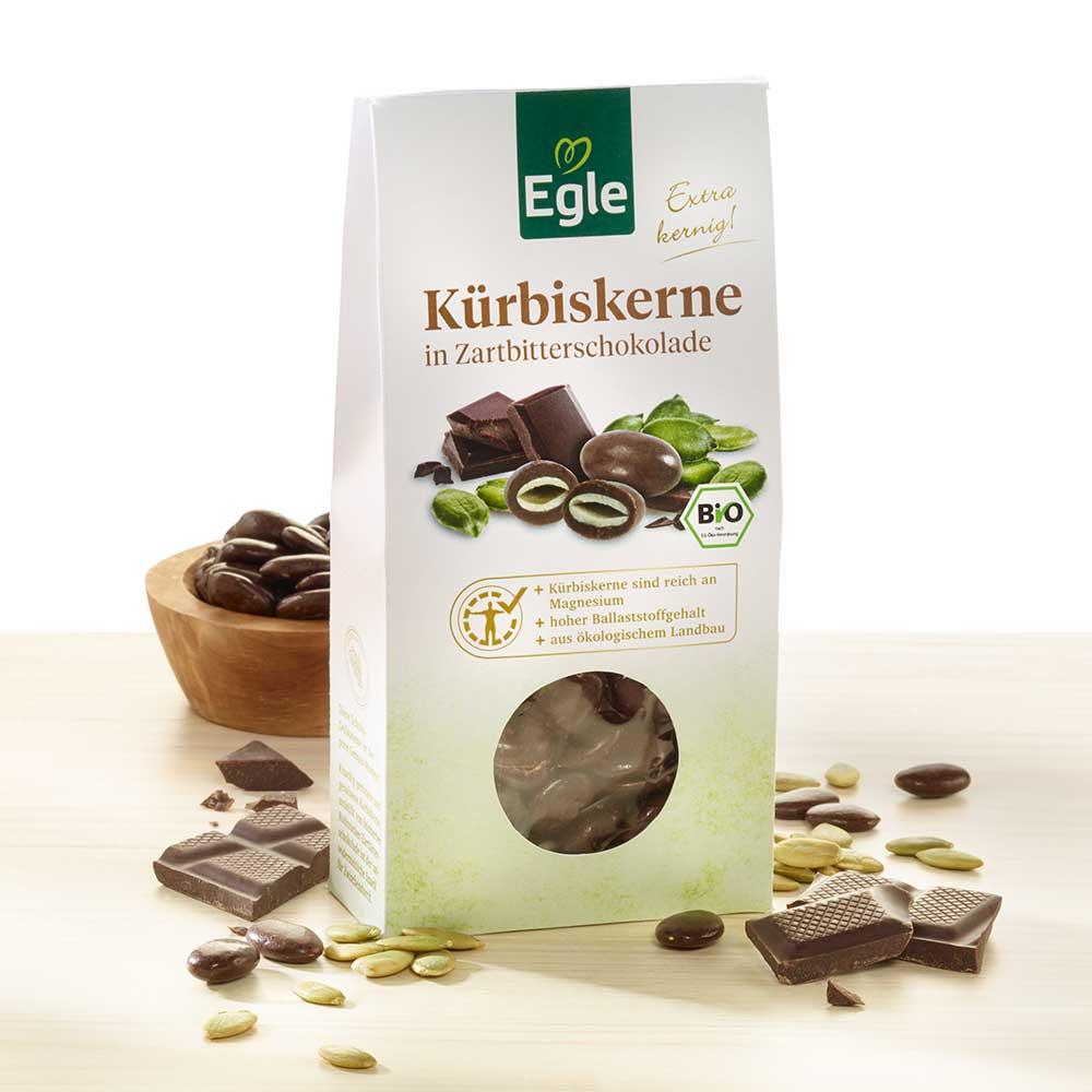 Bio Kürbiskerne in Zartbitterschokolade 2 x 90 g