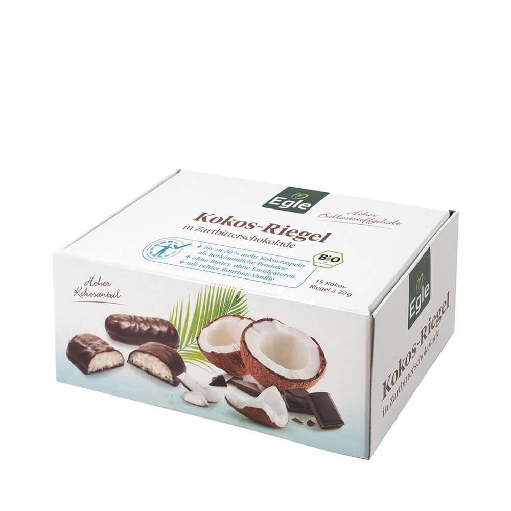 Bio Kokos-Riegel in Zartbitterschokolade